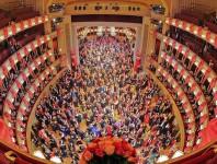 Der festlich geschmückte Saal der Wiener Staatsoper erwartet Sie.