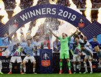 Manchester City nach dem Gewinn des FA Cup Finals 2019 im Wembley Stadium.