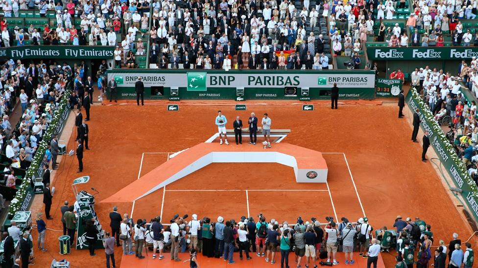 Siegerehrung auf dem Court Philippe-Chatrier