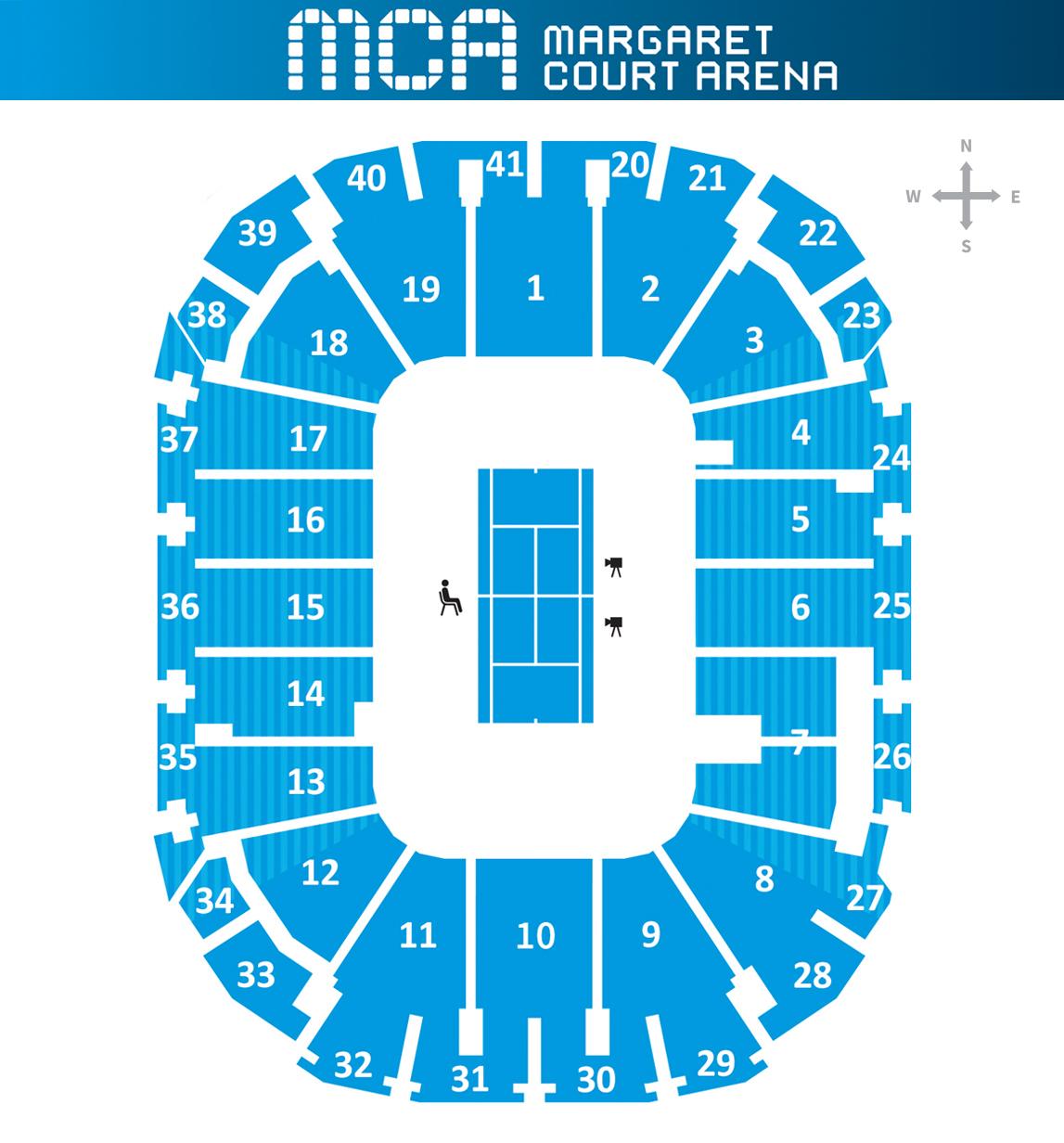 Sitzplan Margaret Court Arena