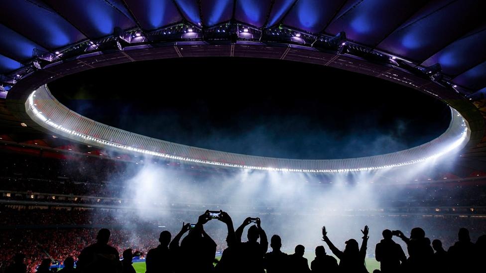 Jubelnde Fans während eines UEFA Champions League Finals