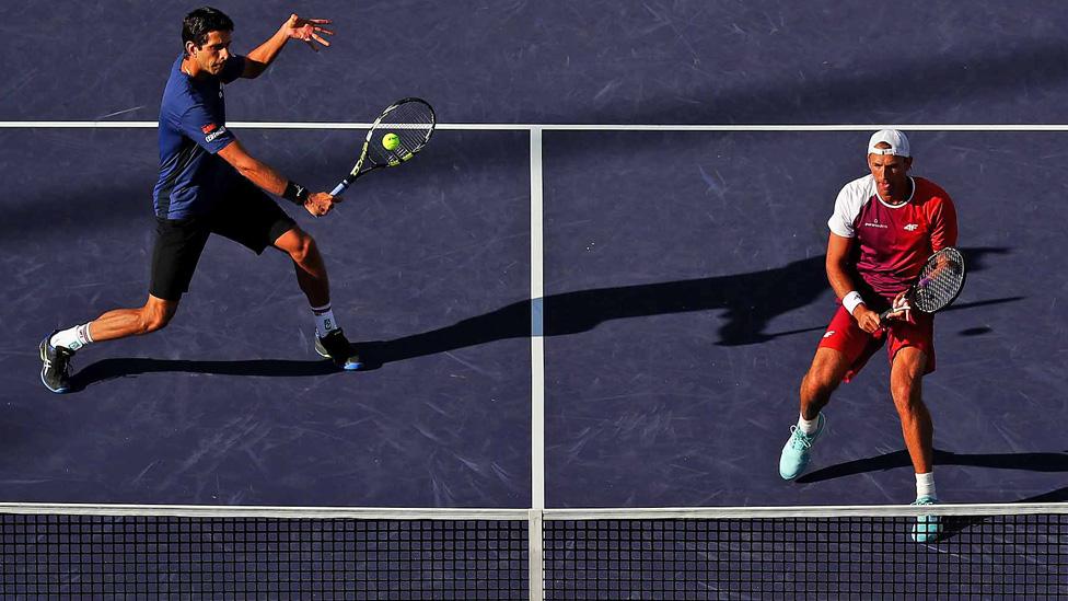 Doppel Partie während der Paribas Open im Indian Wells Tennis Garden