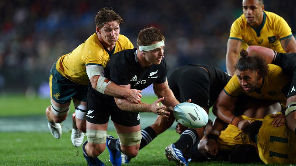 Neuseeland gegen Südafrika während der Rugby Union WM